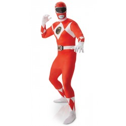 Power Rangers kostuum rood 2nd skin heren