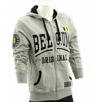 Belgie supporters trui grijze hoodie met rits