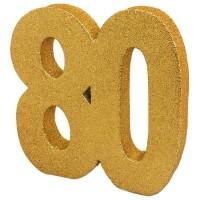 Tafeldecoratie 80 jaar verjaardag cijfer goud