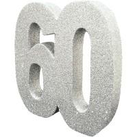 Tafeldecoratie 60 jaar verjaardag cijfer zilver