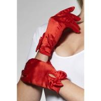 Rode handschoenen carnaval kort strikje