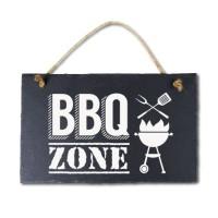 Leisteen met tekst 09 BBQ zone