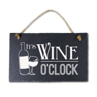 Leisteen met tekst 10 Wine o clock