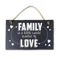 Leisteen met tekst 14 Family is a little world