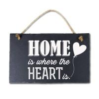 Leisteen met tekst 17 Home heart