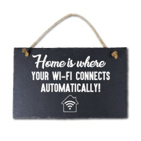 Leisteen met tekst 18 Home WIFI