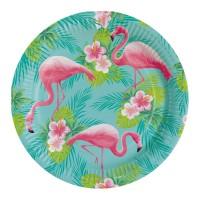 Flamingo bordjes 8 stuks wegwerp bordjes