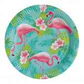 Flamingo feestartikelen bordjes karton wegwerp hawaii