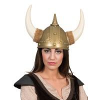Viking helm met pluche aan de hoorns