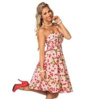 Jaren 50 jurk rock & roll kersen + petticoat