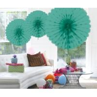 Honeycomb fan papier turquoise 45cm
