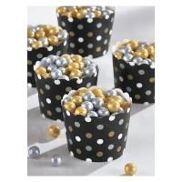Mini snack cups zwart-goud-zilver feestartikelen versiering