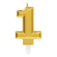 Kaars cijfer 1 goud metallic verjaardag versiering