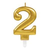Kaars cijfer 2 goud metallic verjaardag versiering