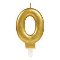 Taart Kaars cijfer 0 goud metallic verjaardag versiering
