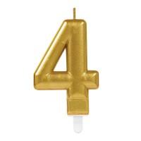 taart Kaars cijfer 4 goud metallic verjaardag versiering