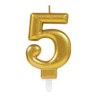 taart Kaars cijfer 5 goud metallic verjaardag versiering
