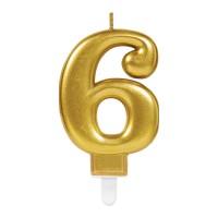 taart Kaars cijfer 6 goud metallic verjaardag versiering