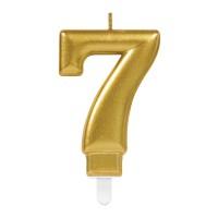 taart Kaars cijfer 7 goud metallic verjaardag versiering