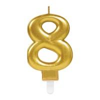 taart Kaars cijfer 8 goud metallic verjaardag versiering