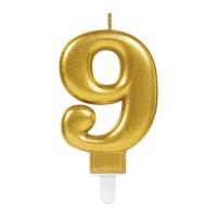 Kaars cijfer 9 goud metallic