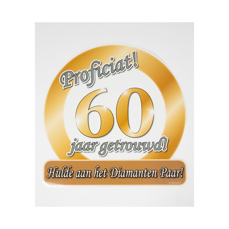 Huldeschild 60 jaar getrouwd jokershop verkleedwinkel for Decoratie 60 jaar