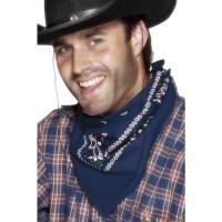 Blauwe boeren zakdoek Cowboy sjaaltje blauw