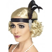 Charleston haarband met veren zwart