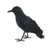 Halloween decoratie zwarte kraai 16 cm