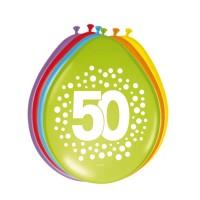 Verjaardag ballonnen 50 jaar rainbow 30cm 8st