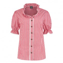 Trachten blouse dames rood wit deluxe