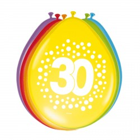 Verjaardag Ballonnen 30 jaar rainbow 30cm 8st