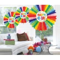 Honeycomb fan happy birthday regenboog