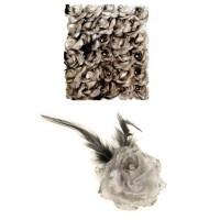 Bloem met speld en haarclip zilver