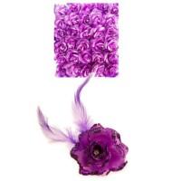 Bloem met speld en haarclip paars