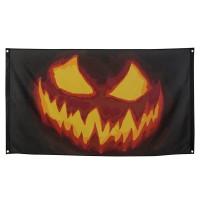 Halloween versiering pompoen vlag 90x150
