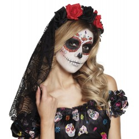 Halloween diadeem met sluier La Rosa