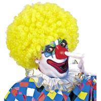 Clownspruik geel krullen carnavalspruiken feestpruiken