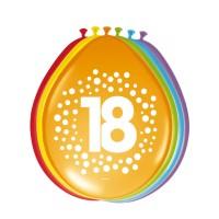 Verjaardag Ballonnen 18 jaar rainbow 30cm 8st