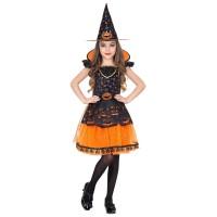 Heksenjurk kind halloween kostuum pompoenen pakje