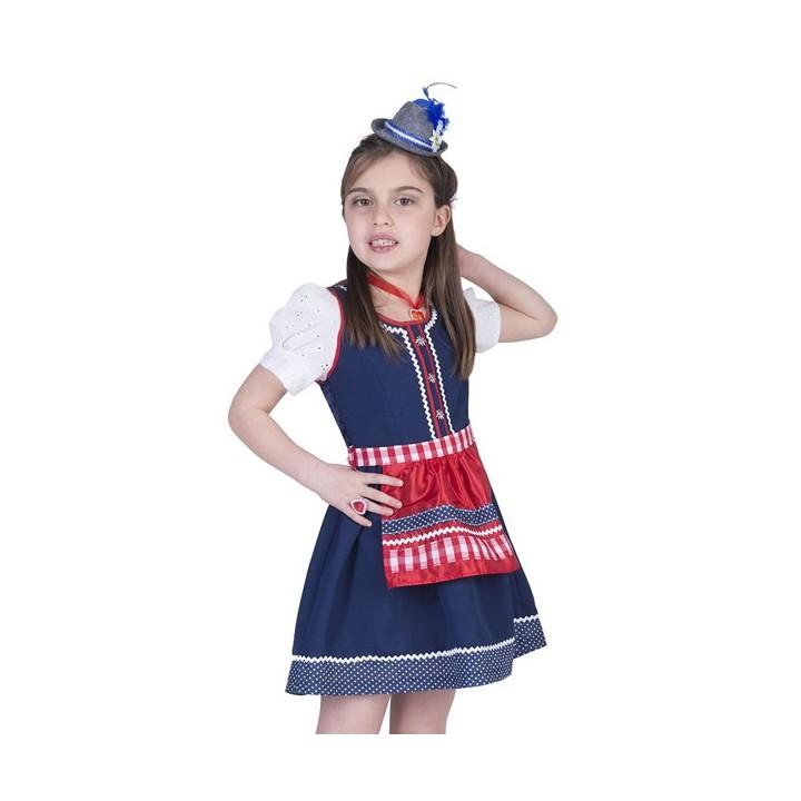 Tiroler jurkje kind Anja retro blauw