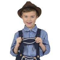 Tiroler hemd kind blauwe ruit