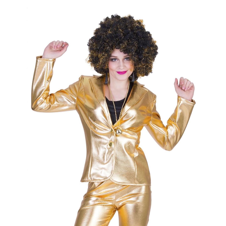 disco kleding dames goud glitter jasje