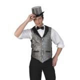zilveren gilet heren disco kleding mannen