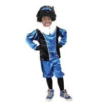 Zwarte Pietenpak voor kinderen blauw/zwart