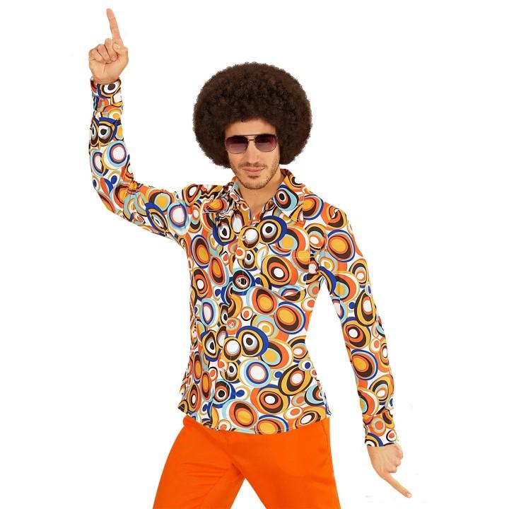 """Jaren 70 retro disco hemd """"bubbles"""" heren"""