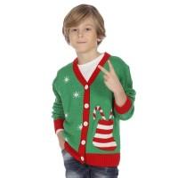Foute Kersttrui vest kind groen gebreid