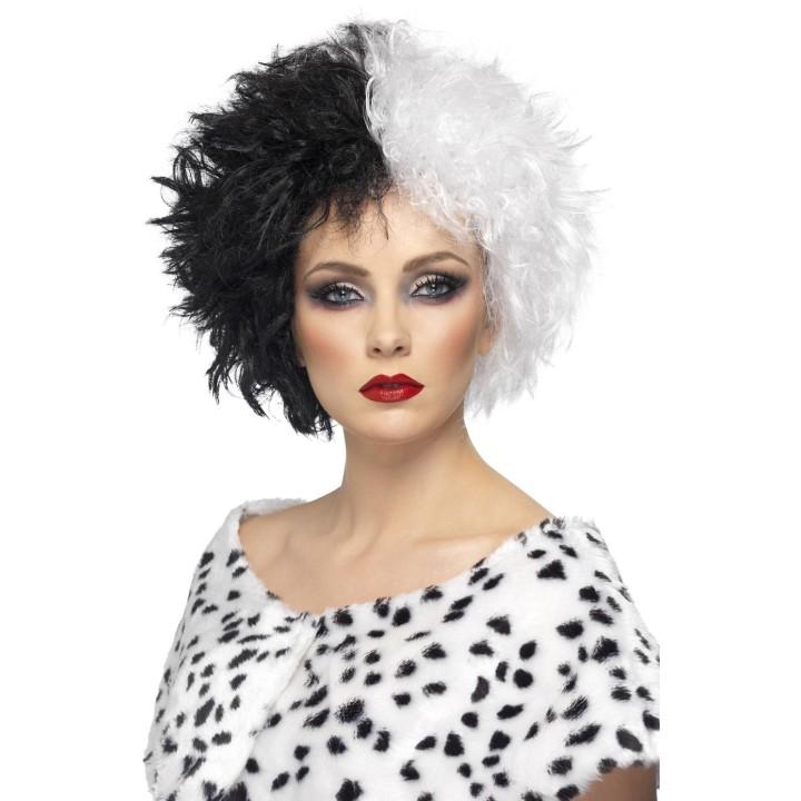 Cruella de Vil pruik zwart met wit