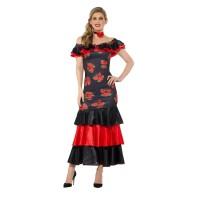 Spaanse danseres Flamenco jurk dames roos