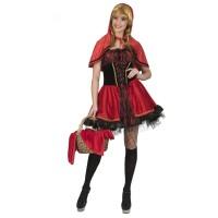 Roodkapje jurk dames rood-zwart